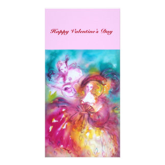 PIERROT AND ARLECCHINA Valentine's Day Music Picture Card