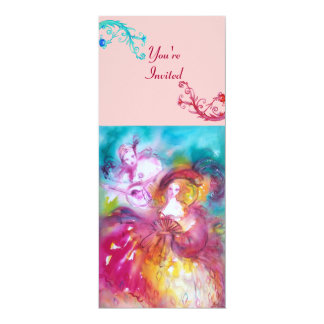PIERROT AND ARLECCHINA Venetian Carnival, 10 Cm X 24 Cm Invitation Card