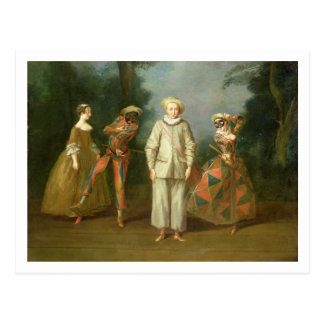 Pierrot and Harlequin Postcard