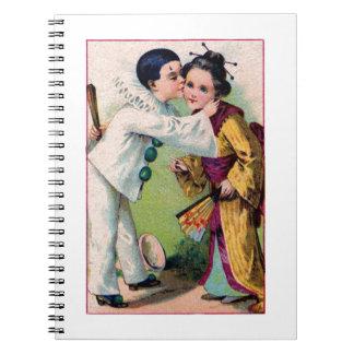 Pierrot Clown boy kissing geisha girl with kimono Spiral Notebook