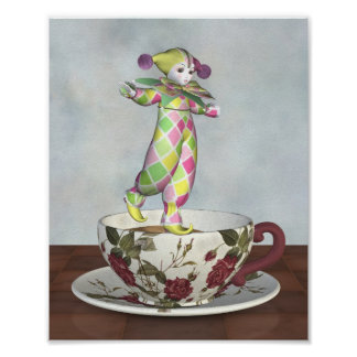 Pierrot Clown Doll Balancing on a Tea Cup Poster