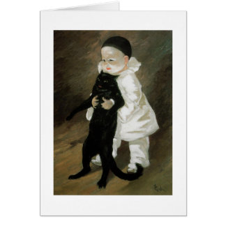 Pierrot with Cat, Alexandre Steinlen Card