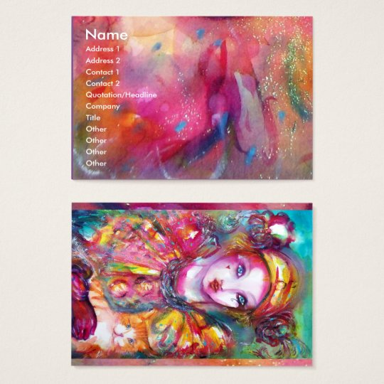 PIERROT WITH CAT / Venetian Carnival Mask Business Card