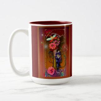 Pierrot with ladybird Two-Tone coffee mug