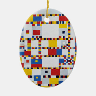 piet mondrian and victory.boogie-woogie ceramic oval decoration