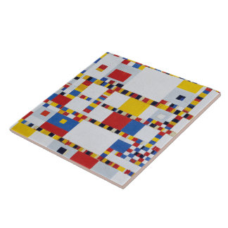 Piet mondrian and victory.boogie-woogie large square tile