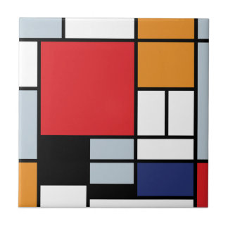 Piet Mondrian - Composition with Large Red Plane Small Square Tile