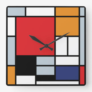 Piet Mondrian - Composition with Large Red Plane Wall Clocks