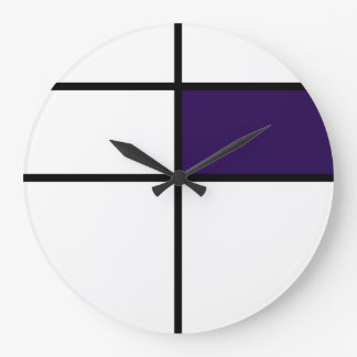 Piet Mondrian style design: purple Large Clock