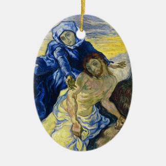 Pieta Vincent van Gogh fine art painting Double-Sided Oval Ceramic Christmas Ornament