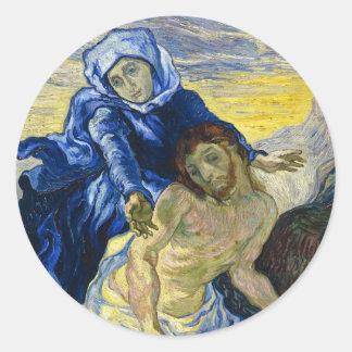 Pieta Vincent van Gogh fine art painting Round Sticker