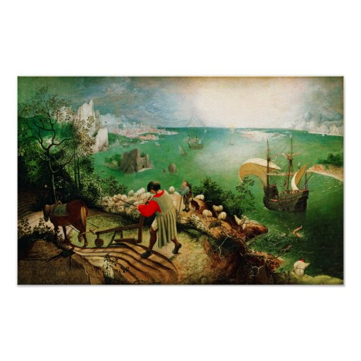 Pieter Bruegel Landscape with the Fall of Icarus Poster