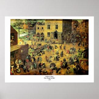 Pieter Bruegel s Children's Games - 1560 Poster