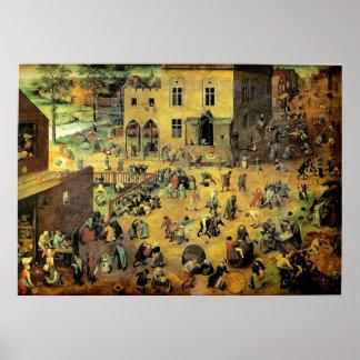 Pieter Bruegel s Children's Games - 1560 Posters
