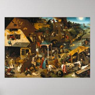 Pieter Bruegel the Elder - Netherlandish Proverbs Poster