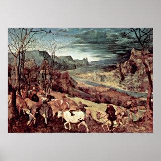 Pieter Bruegel the Elder - Return of the herd Poster
