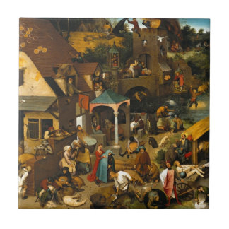 Pieter Bruegel the Elder - The Dutch Proverbs Small Square Tile
