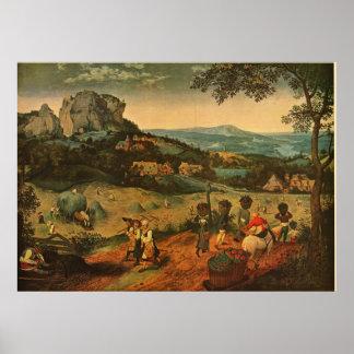 Pieter Bruegel's Bruegel's The Hay Harvest - 1565 Poster