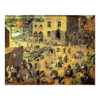 "Pieter Bruegel's ""Children's Games"" - 1560 4.25"" X 5.5"" Invitation Card"