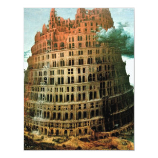 "Pieter Bruegel's The ""Little"" Tower of Babel 11 Cm X 14 Cm Invitation Card"