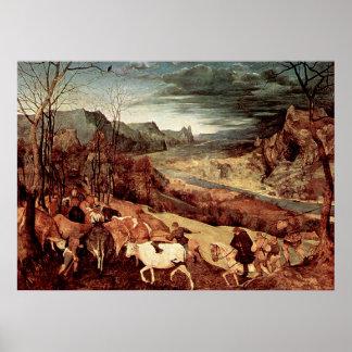 Pieter Bruegel's The Return of the Herd - 1565 Poster