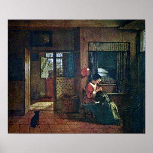 Pieter de Hooch - A mothers duty Posters