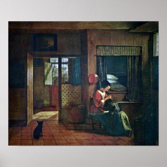 Pieter de Hooch - A mothers duty Poster