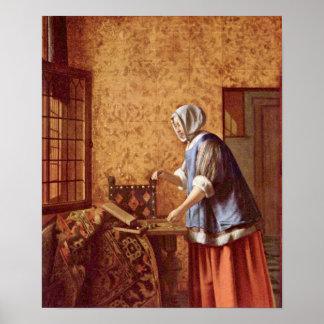 Pieter de Hooch - Die Goldwagerin Poster