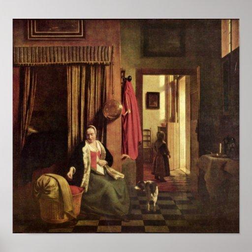 Pieter de Hooch - mother at the cradle Poster