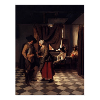Pieter de Hooch- Paying the Hostess Postcard