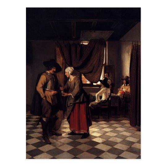 Pieter de Hooch- Paying the Hostess Postcard