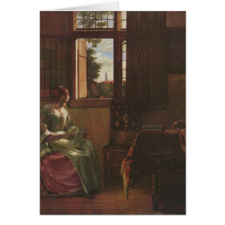 Pieter de Hooch- Woman Reading a Letter Greeting Card