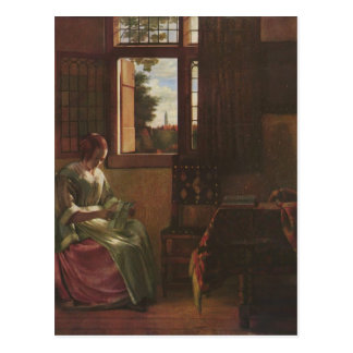 Pieter de Hooch- Woman Reading a Letter Postcard