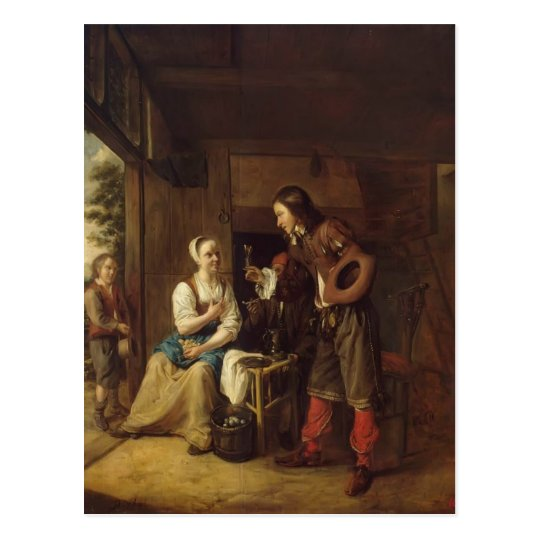 Pieter Hooch- Man Offering Wine to a Woman