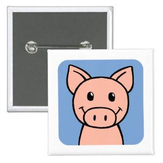 Pig 15 Cm Square Badge