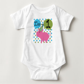 Pig 1st Birthday Baby Bodysuit