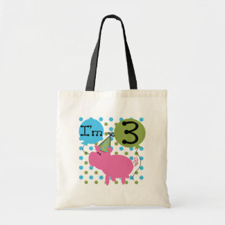 Pig 3rd Birthday Tshirts and Gifts Tote Bags
