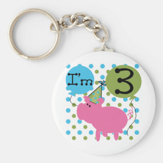 Pig 3rd Birthday Tshirts and Gifts Basic Round Button Key Ring
