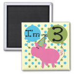 Pig 3rd Birthday Tshirts and Gifts Refrigerator Magnets