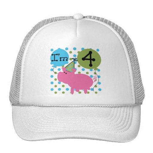 Pig 4th Birthday Tshirts and Gifts Mesh Hats