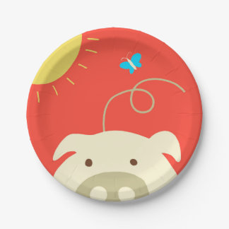 Pig and Butterfly 7 Inch Paper Plate