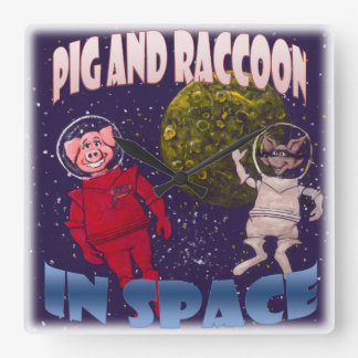 Pig and Raccoon in Space Square Wall Clock