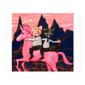 Pig and Raccoon on a Pink Un icorn Postcard