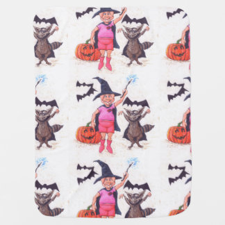 Pig and Raccoon on Halloween Swaddle Blankets
