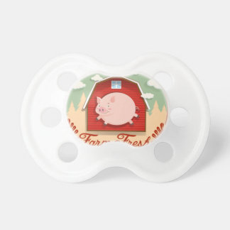 Pig and red barn on logo baby pacifiers