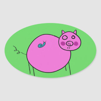 Pig and Snail: Unlikely Friends Oval Sticker