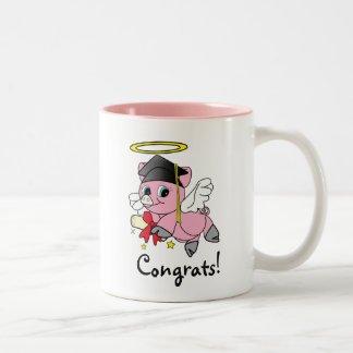 Pig Angel Graduation Congratulations Two-Tone Coffee Mug