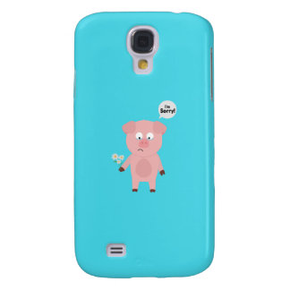 Pig Apologize with flowers Q1Q Galaxy S4 Case