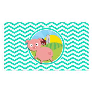 Pig Aqua Green Chevron Business Card Template