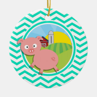 Pig Aqua Green Chevron Christmas Tree Ornament